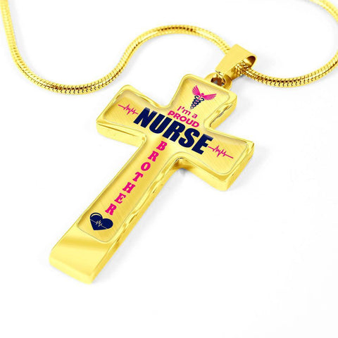 Image of I'm a Proud Nurse Brother Cross - Light Luxury Necklace