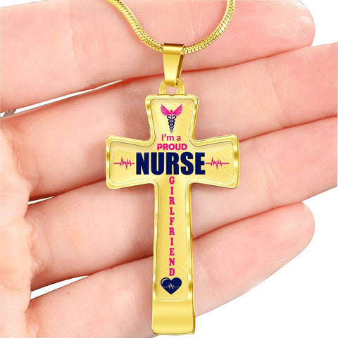I'm a Proud Nurse Girlfriend Cross - Light Luxury Necklace