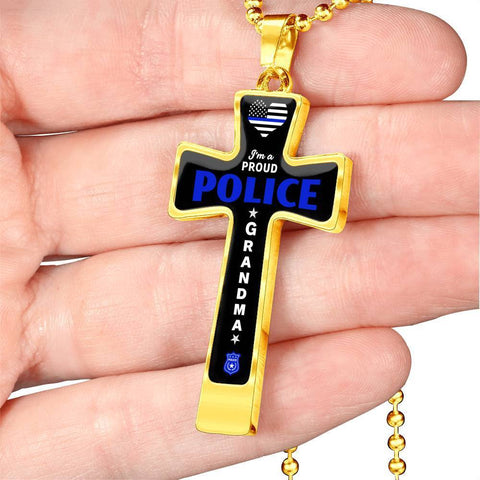 Image of I'm a Proud Police - Military Ball Chain Police Grandma Cross