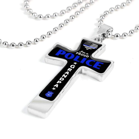 I'm a Proud Police - Military Ball Chain Police Grandpa Cross