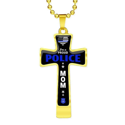 I'm a Proud Police - Military Ball Chain Police Mom Cross
