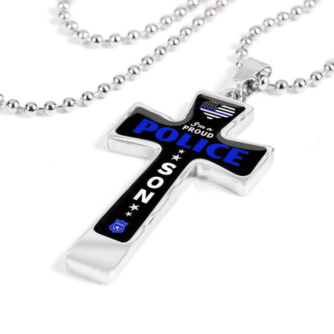I'm a Proud Police - Military Ball Chain Police Son Cross