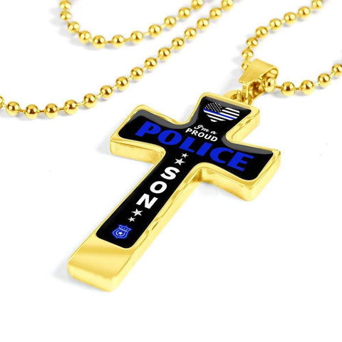 Image of I'm a Proud Police - Military Ball Chain Police Son Cross