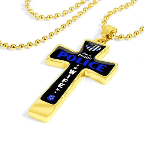 Image of I'm a Proud Police - Military Ball Chain Police Wife Cross