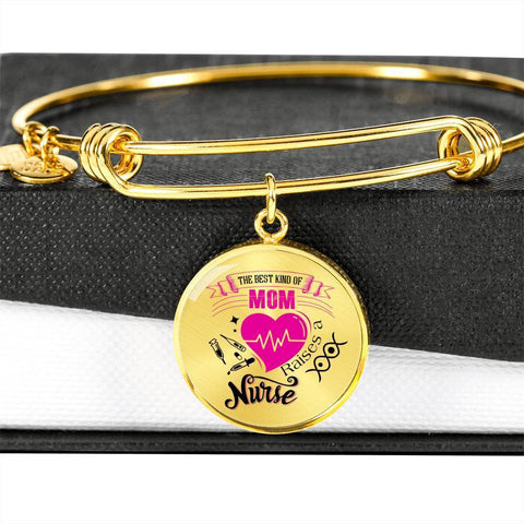 Image of Best Kind of Mom Raises a Nurse Circle Adjustable Luxury Bangle Bracelet