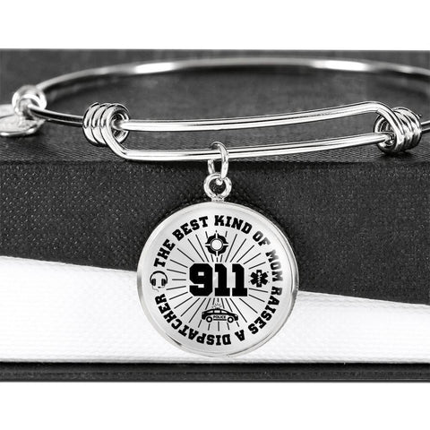 Best Kind of Mom Raises a Dispatcher Circle Adjustable Luxury Bangle Bracelet