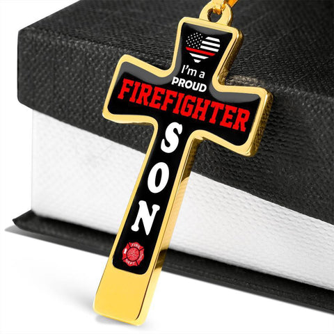 Image of I'm a Proud Firefighter Son Cross - Luxury Necklace