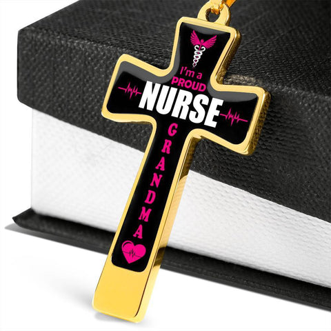 I'm a Proud Nurse Grandma Cross - Luxury Necklace