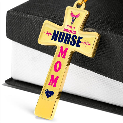 Image of I'm a Proud Nurse Mom Cross - Light Luxury Necklace