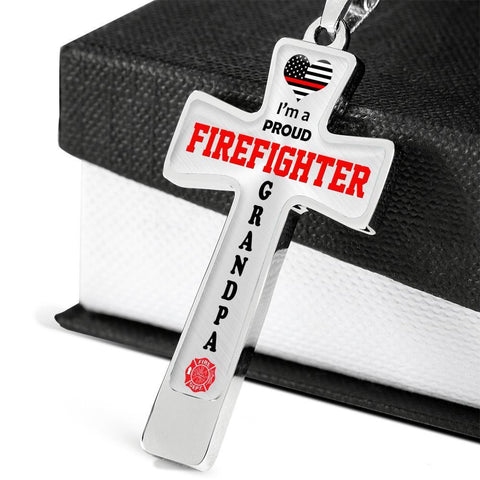 Image of I'm a Proud Firefighter Grandpa Cross - Light Luxury Necklace