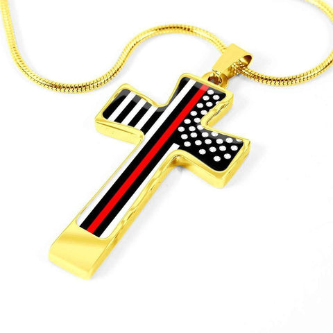Image of Red Line Fire Fighter Cross - Luxury Necklace