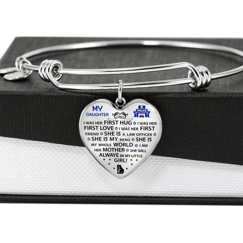 She will Always Be My Little Girl - Police Mom Adjustable Bangle