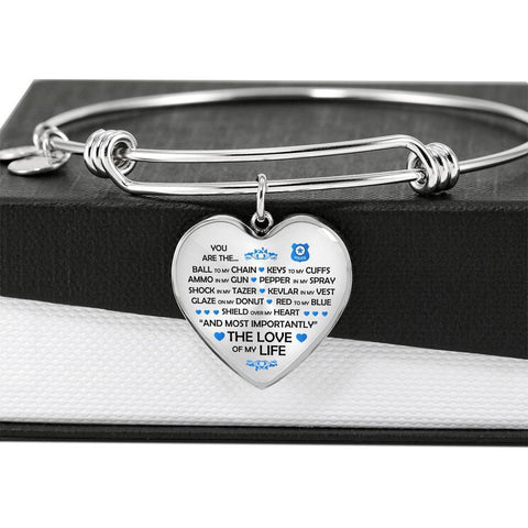 You are the Ammo in My Gun - Adjustable Luxury Heart Bangle Bracelet