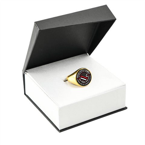 Image of Proud Firefighter Mom Ring - Signet Circle Ring