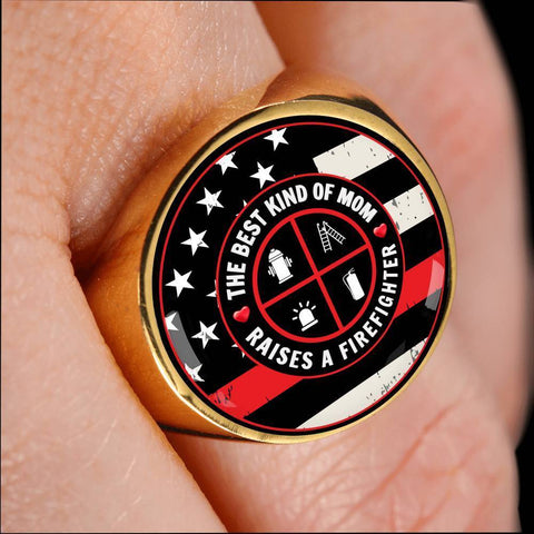Image of The Best Kinf of Mom - Raises a Firefighter Mom Ring