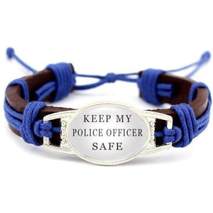 Proud Blue Line Family - Adjustable Leather Bracelet - FREE + SHIPPING!