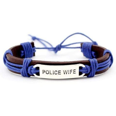 Image of Police & Fire - Mom & Wife - Adjustable Leather Bracelet