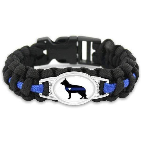 Image of Thin Blue Line K-9 Canine Police Dog Paracord Survival Bracelet