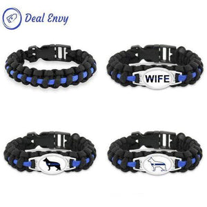 Thin Blue Line K-9 Canine Police Dog Paracord Survival Bracelet