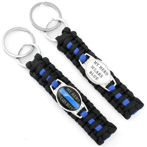 Blue Line Survival Family Keychain