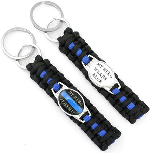 Blue Line Survival Family Keychain - Blue Line Family Support - Mom, Son, Daughter, Wife, Grandma, Sister, Aunt, Husband, Hero, Supporter. Back Blue Paracord Survival Keychain!