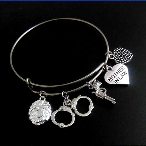 Proud Blue Line Family Bangle - Stainless Steel Police Family and Police Support Bracelet - 2.8 Universal Sizing FREE + SHIPPING!