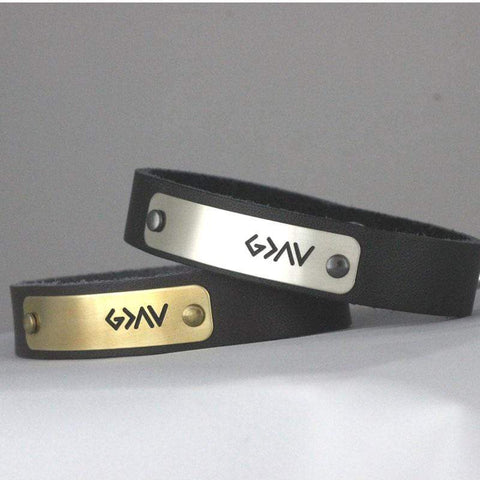 "Handmade ""God is Greater Than Our Highs and Lows"" Leather Bracelet"