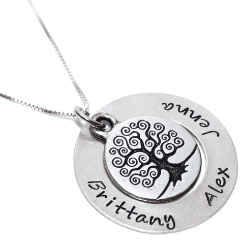 Image of Handstamped Family Tree Necklace