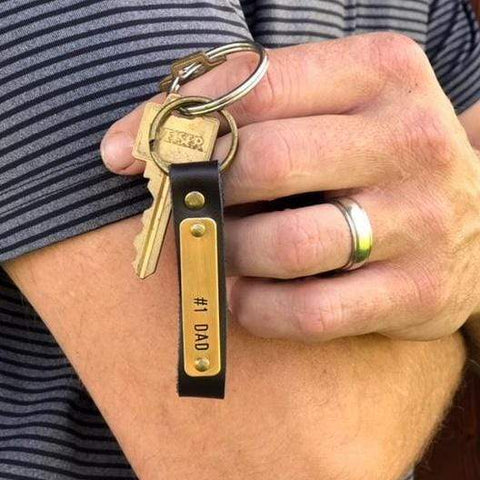Image of Personalized Leather Keychain - Handstamped in the USA