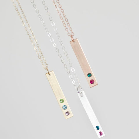 Image of Mother's Birthstone Bar Necklace - Vertical