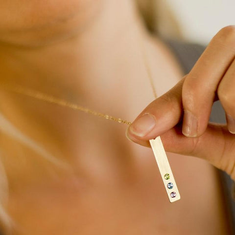 Mother's Birthstone Bar Necklace - Vertical