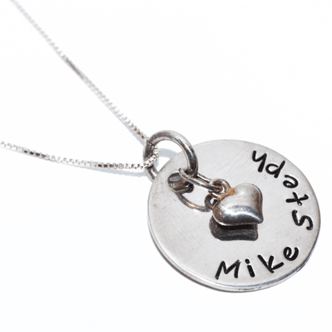 Image of Couples Necklace with Heart Pendant Handstamped in the USA