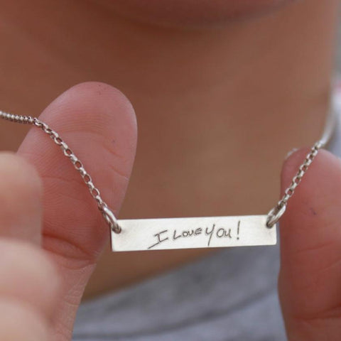 Custom Handwriting Bar Necklace