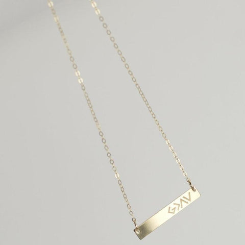 God is Greater Than the Highs and Lows Bar Necklace