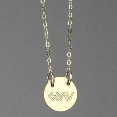 God is Greater than the Highs and Lows Mini Disc Necklace