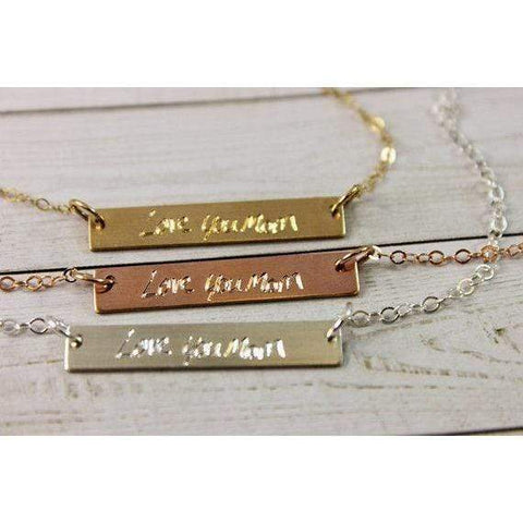 Image of Personalized Bar Necklace Engraved with Name in Sterling Silver, 14K and Rose Gold