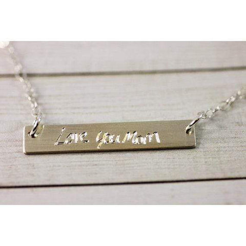 Personalized Bar Necklace Engraved with Name in Sterling Silver, 14K and Rose Gold