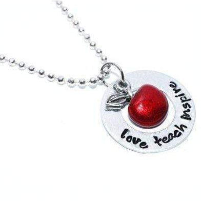 Image of Handstamped Teachers Necklace with Apple Charm - Love - Teach - Inspire