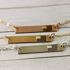 Patriotic USA Flag Bar Necklace in Sterling Silver, 14K Gold, Rose Gold