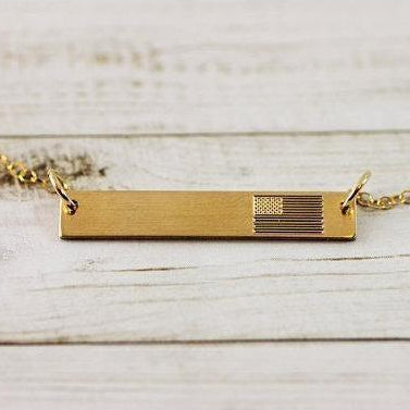 Image of Patriotic USA Flag Bar Necklace in Sterling Silver, 14K Gold, Rose Gold