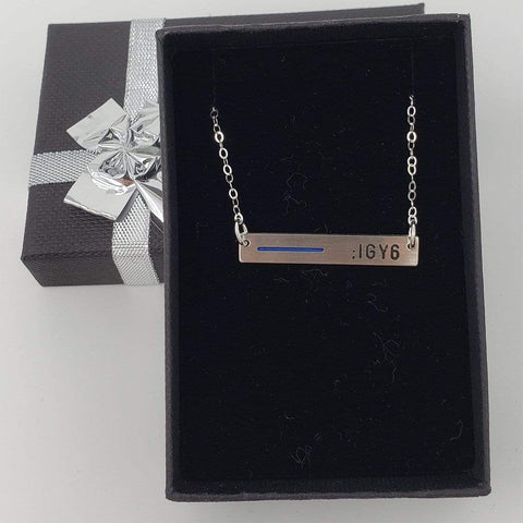 Thin Blue Line Bar Necklace for Mom, Wife, Daughter and Family