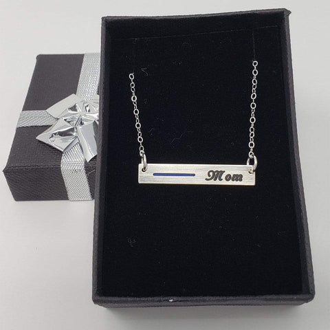 Image of Thin Blue Line Bar Necklace for Mom, Wife, Daughter and Family