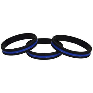 Thin Blue Line Silicone Wristbands and bracelets