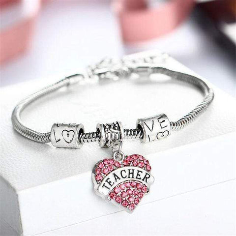 Image of Show your love to your Teacher!! Fashion Heart Shape Pendant Bracelet Bangle