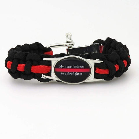 Red Line Life Survival Firefighter Paracord Bracelet - JUST PAY SHIPPING!