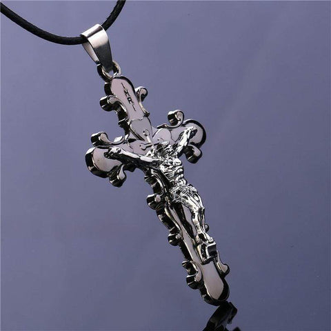 Titanium Steel Gothic Jesus Cross Pendant Necklace