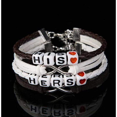 Leather Braid 2 Layer Bracelets Best Love Jewelry Gift for Couple
