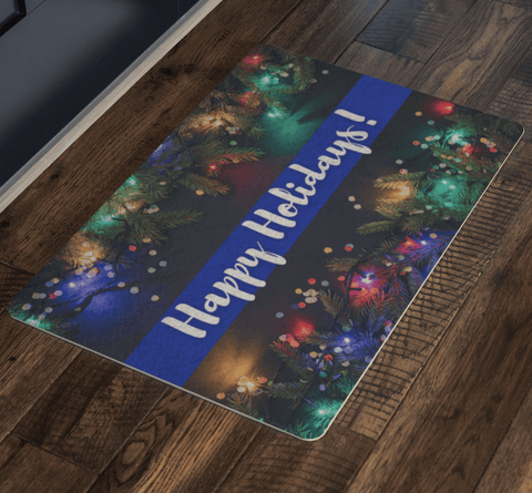 Thin Blue Line Holiday Welcome Mats - Christmas Lights Edition