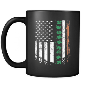 St. Patricks Day 2018 - IRISH American - 11oz Black Mug