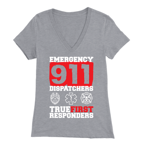 Image of Emergency 911 Dispatchers True First Responders - Soft Bella Womens V-Neck
